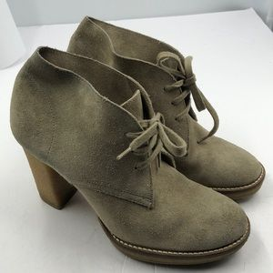 J. Crew Beige Suede Leather Heel Ankle Boots 7